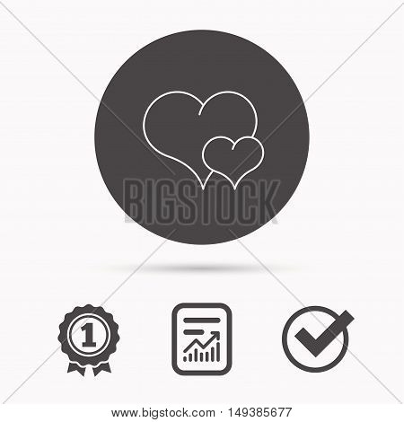 Love heart icon. Couple romantic sign. Report document, winner award and tick. Round circle button with icon. Vector