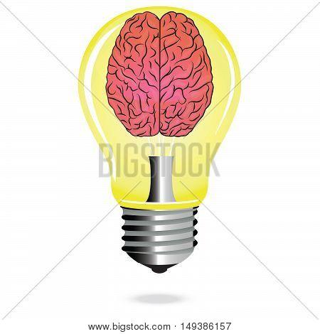 Bright Idea brain light bulb vector, educational concept