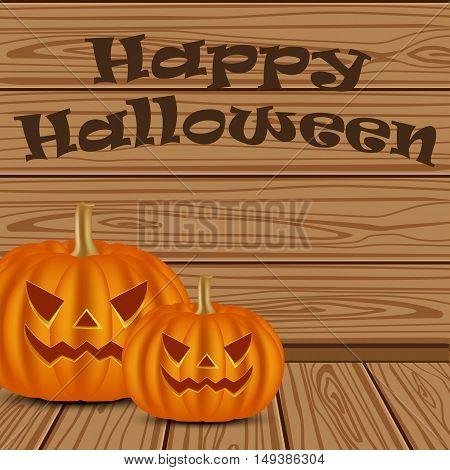 Halloween pumpkin on a background of wooden planks, vector illustration