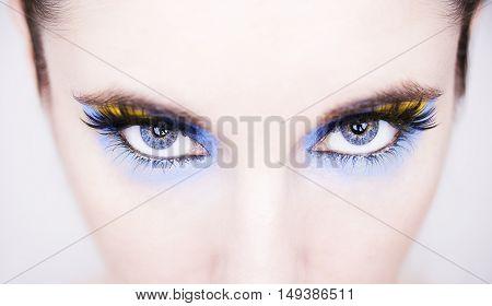 A beautiful insightful look blue woman's eyes