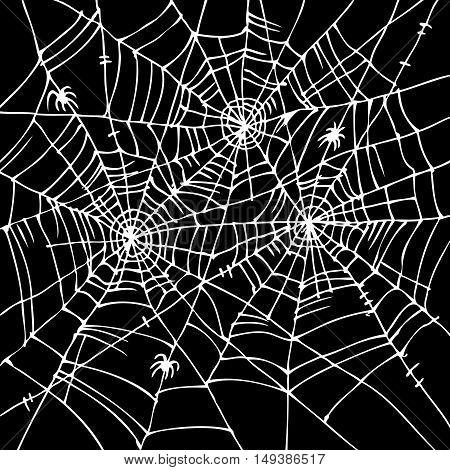Halloween web background 306. Eau-forte black-and-white decorative texture vector illustration.