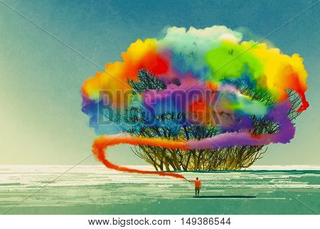 man draws abstract tree with colorful smoke flare, illustration painting