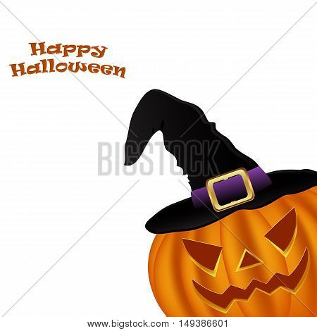 Wicked pumpkin for Halloween in a witches hat. Jack Lantern, vector illustration