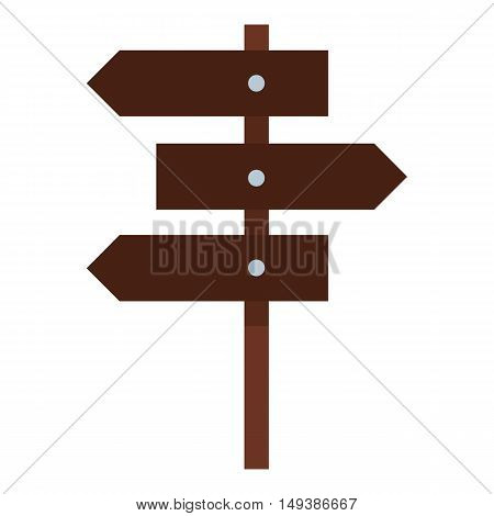 Road sign icon in flat style isolated on white background. Signpost symbol vector illustration