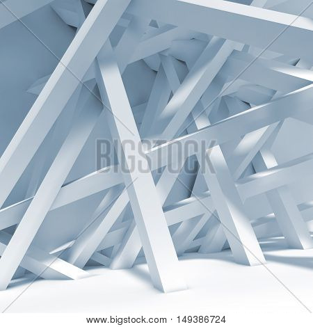 Abstract Blue Interior Background. Chaotic Beams