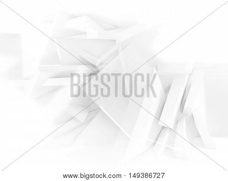 White Polygonal Boxes Pattern.3D Illustration