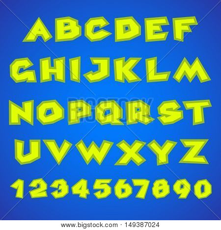 Decorative alphabet. Simple bold. Yellow letters and numbers on a blue background. Stock vector.