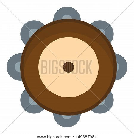 Tambourine icon in flat style isolated on white background. Musical instrument symbol vector illustration