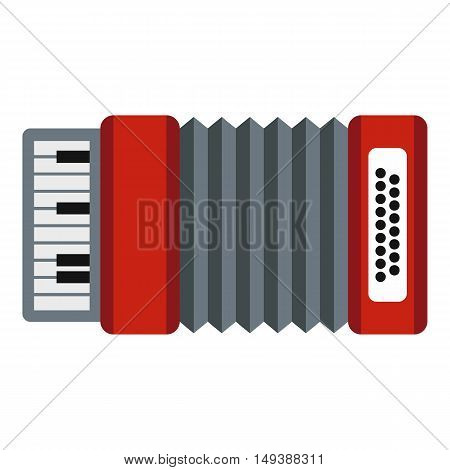 Accordion icon in flat style isolated on white background. Musical instrument symbol vector illustration