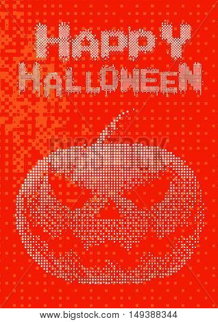 Halloween pumpkin jack lantern with white digital pixel 8 bit style on orange background