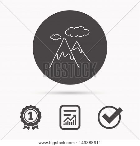 Mountain icon. Hills and clouds sign. Climbing travel symbol. Report document, winner award and tick. Round circle button with icon. Vector
