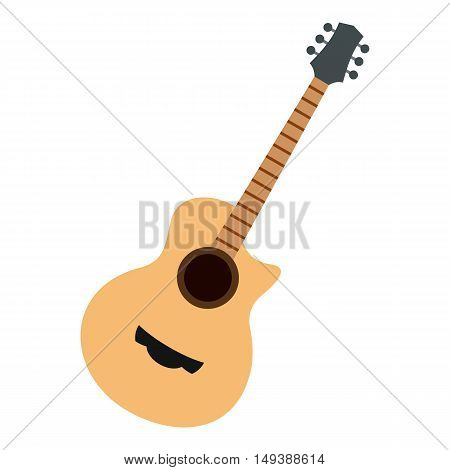 Guitar icon in flat style isolated on white background. Musical instrument symbol vector illustration