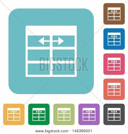 Flat Spreadsheet adjust table column width icons on rounded square color backgrounds.