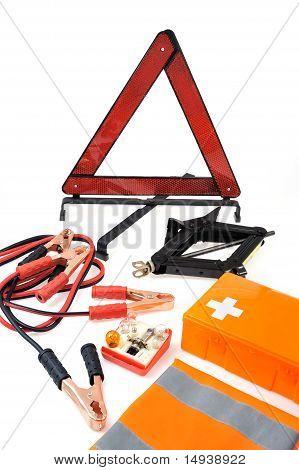 Kit de emergencia para el coche - primeros auxilios kit coche gato cables de puenteo kit bombilla de triángulo de advertencia