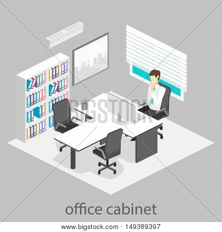 Isometric Interior Of Director's Office