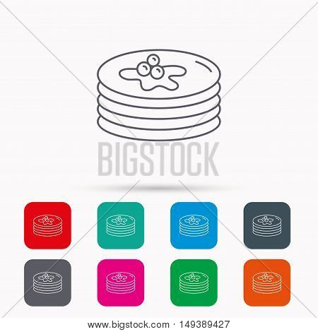 Pancakes icon. American breakfast sign. Food with maple syrup symbol. Linear icons in squares on white background. Flat web symbols. Vector
