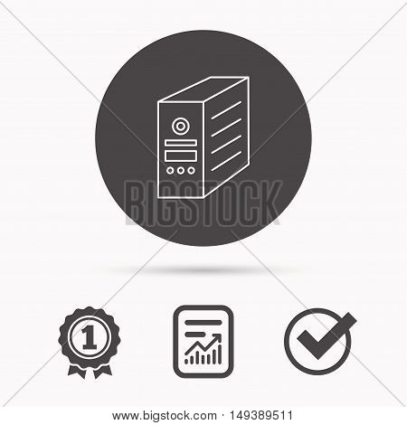 Computer server icon. PC case or tower sign. Report document, winner award and tick. Round circle button with icon. Vector