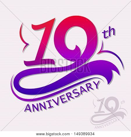 10th Years Anniversary Design, Ten Template celebration sign. Vector