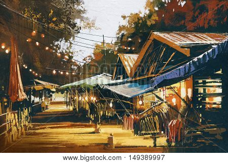 street of traditional market at evening, oil painting style