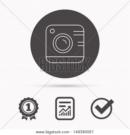 Vintage photo camera icon. Photography sign. Professional equipment symbol. Report document, winner award and tick. Round circle button with icon. Vector