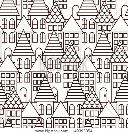 Outline coloring cityscape seamless pattern. Monochrome building repeating background.