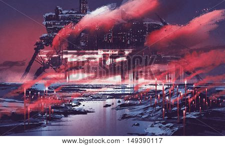 sci-fi scene of industrial city, illustration painting