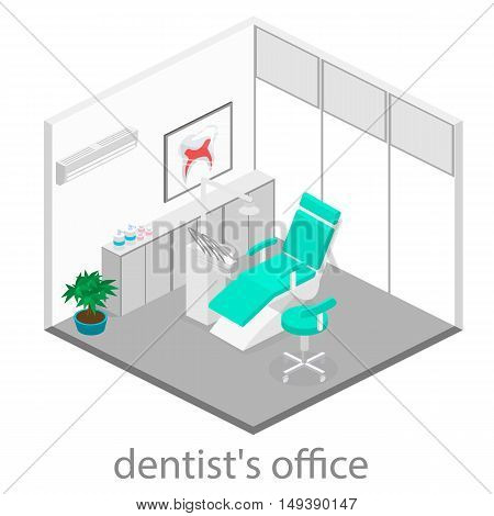 Isometric dentist office during reception patient. Dentistry and doctors office dentist chair dental and medical health oral mouth healthcare illustration