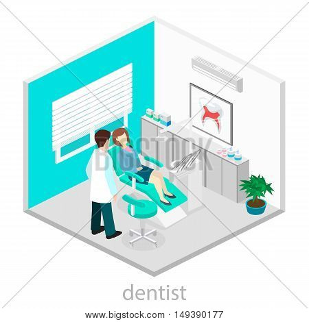 Isometric Flat Interior Of Dentist's Office.