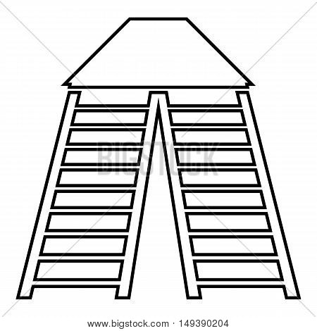 Vertical ladders icon in outline style isolated on white background. Construction symbol vector illustration