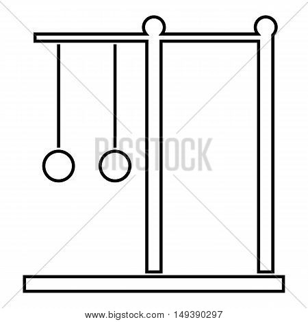 Horizontal bar with rings icon in outline style isolated on white background. Equipment symbol vector illustration
