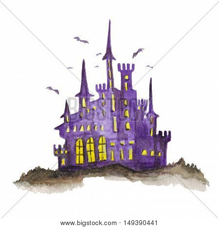 Halloween castle isolated on white background Watercolor hand drawn picture