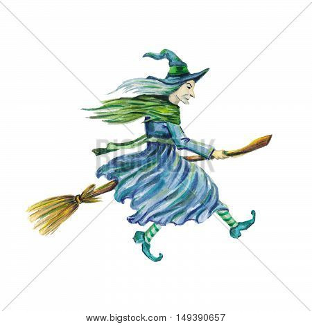 Witch on a broomstick. Watercolor hand drawn image