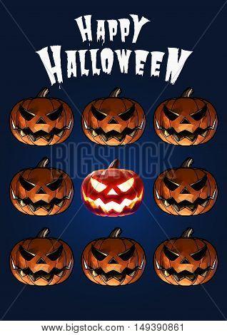 Halloween pumpkins jack lantern in scary expression tile on dark blue background