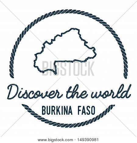 Burkina Faso Map Outline. Vintage Discover The World Rubber Stamp With Burkina Faso Map. Hipster Sty