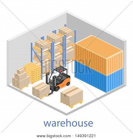 Isometric Interior Of Warehouse. The Boxes Are On The Shelves.