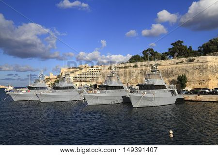 Military Ship In The Grand Harbour Of Valletta