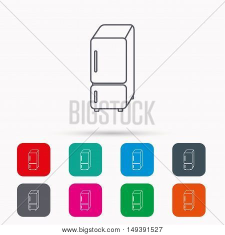 Refrigerator icon. Fridge sign. Linear icons in squares on white background. Flat web symbols. Vector