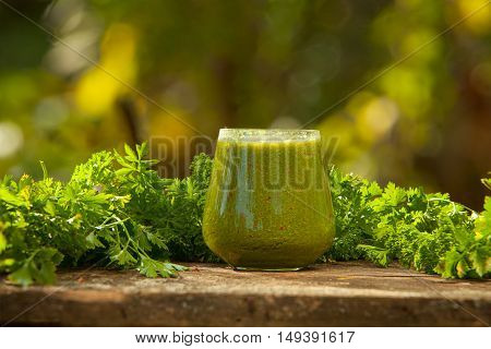 Delicious Green Smoothies From Fresh Greenery In A Glass