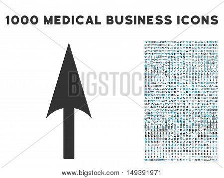 Arrow Axis Y icon with 1000 medical commercial gray and blue vector pictograms. Clipart style is flat bicolor symbols, white background.