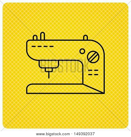 Sewing machine icon. Embroidery sign. Linear icon on orange background. Vector