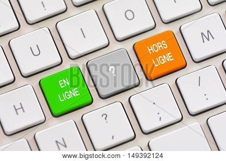 En Ligne or Hors Ligne choice in French on keyboard