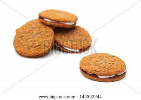 Oatmeal Sandwich Cookies Isolated On A White Background