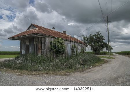 Old Abandoned Sugarcane Plantation Hut in Louisiana
