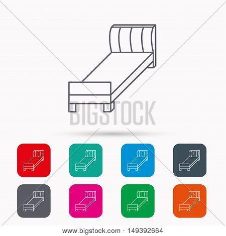 Single bed icon. Bedroom furniture sign. Linear icons in squares on white background. Flat web symbols. Vector