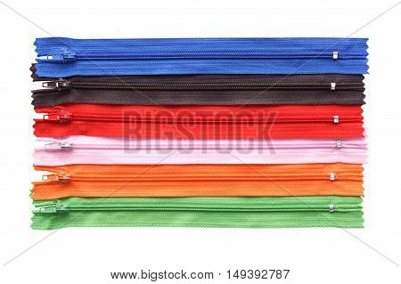 Colorful zips isolated on a white background