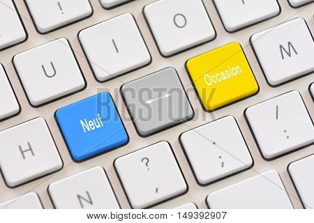Neuf or Occasion choice in French on keyboard