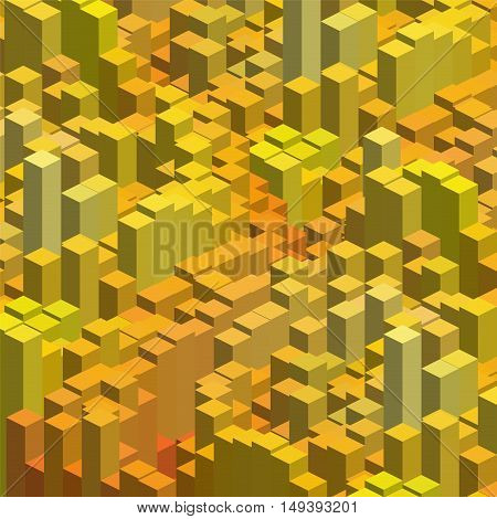 Abstract Background With 3D Cubes. Vector Cube Box For Business Concepts. Yellow, Orange Colors.