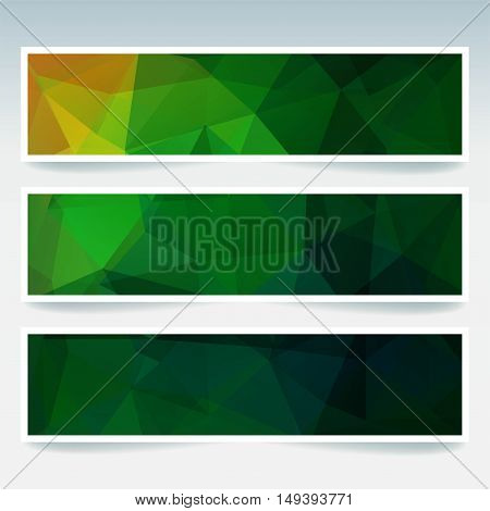 Vector Banners Set With Polygonal Abstract Green Triangles. Abstract Polygonal Low Poly Banners