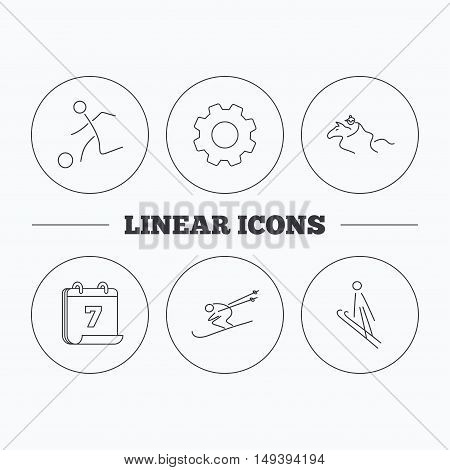 Horseback riding, football and skiing icons. Ski jumping linear sign. Flat cogwheel and calendar symbols. Linear icons in circle buttons. Vector