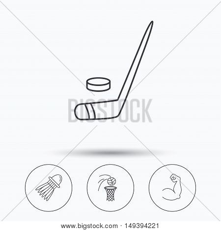 Ice hockey, basketball and badminton icons. Biceps linear sign. Linear icons in circle buttons. Flat web symbols. Vector